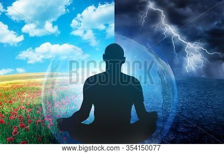 Two States Of Mind Dialectical Concept Illustration, Silhouette Of Man Practicing Yoga Meditation