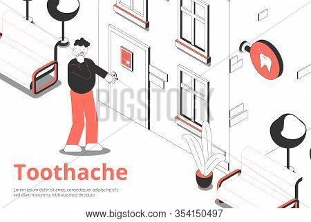 Man With Toothache Opens Front Door Of Dentist Clinic Isometric  Composition With Exterior Sign Boar