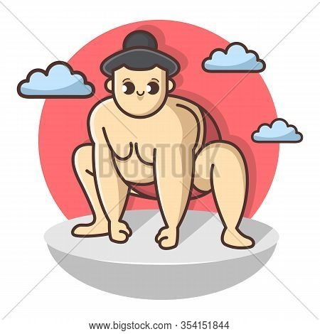 Funny Sumo Funny Wrestler Character. Japan Culture Abstract Design Template. Hand Drawn Cartoon Vect