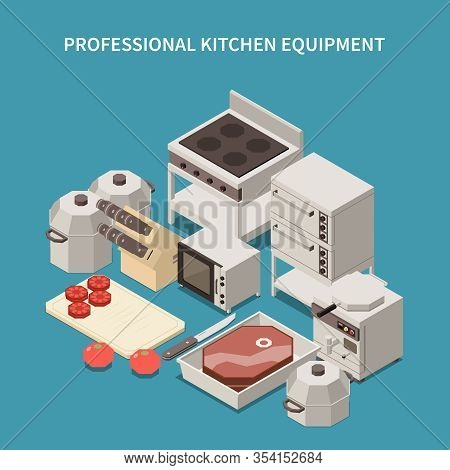 Professional Kitchen Appliances Isometric Image With Commercial Range Microwave Oven  Toaster Breakf