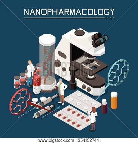 Nanotechnology In Pharmacology Isometric Composition With Electronic Microscope Nanopharmacology Pac