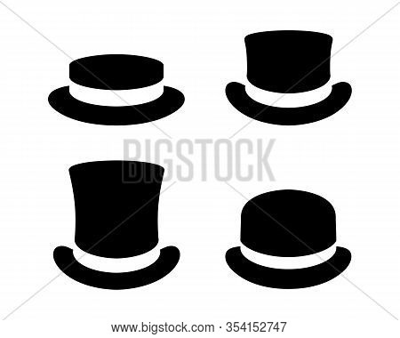 Hats Graphic Icons Set. Boater Hat, Top Hats And Bowler Hat Black Signs Isolated On White Background