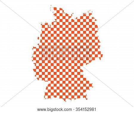 Detailed And Accurate Illustration Of Map Of Germany In Checkerboard Pattern