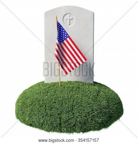 Small American Flag And Gray Blank Headstone On Green Grass Islet In Memorial Day Under Sunlight Iso
