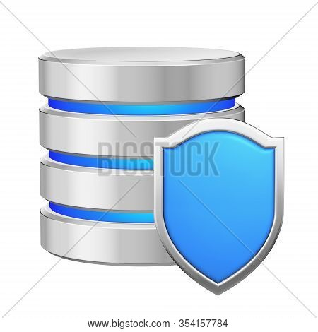 Data Base With Blue Metal Shield Protected From Unauthorized Access, Data Protection Concept, 3d Ill
