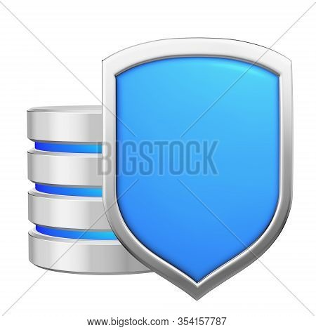 Database Behind Metal Blue Shield Protected From Unauthorized Access, Data Privacy Concept, 3d Illus