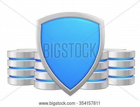 Data Bases Group Behind Blue Metal Shield Protected From Unauthorized Access, Data Privacy Concept,