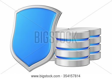Databases Group Behind Metal Blue Shield On Left Protected From Unauthorized Access, Data Protection