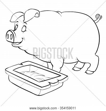 Pig Stands Next To The Trough, For Coloring, Outline Drawing, Isolated Object On White Background, E