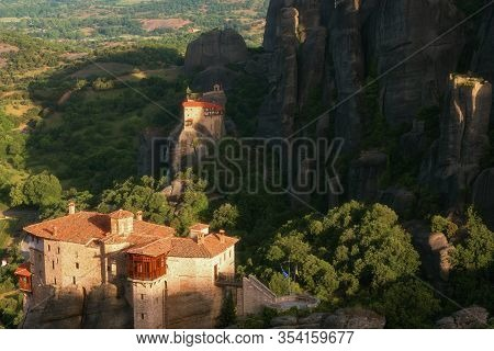Magnificent Spring Landscape.the Monastery Of Rousanou Or St. Barbara Monastery And The Monastery Of