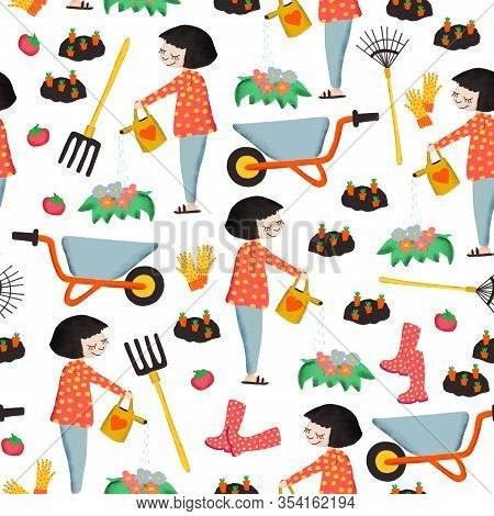 Seamless Pattern Gardening. Spring Or Summer Design With Woman Watering Flowers, Vegetables, Garden