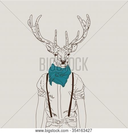 Illustration Of Hipster Deer Dressed Up In Shirt With A Turquoise Scarf. Furry Art Illustration, Fas