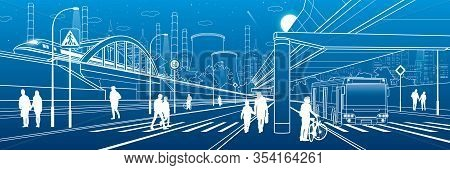 Development Modern City. People Walking At The Street. Illuminated Highway. Transport Infrastructure