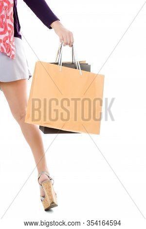 Woman Holding Few Shopping Bags