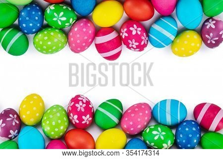easter eggs background white background