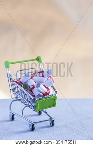 Lovely Letters In The Shopping Cart. Buying And Selling Dreams, Love, Desire, Volition, Want, Hope,