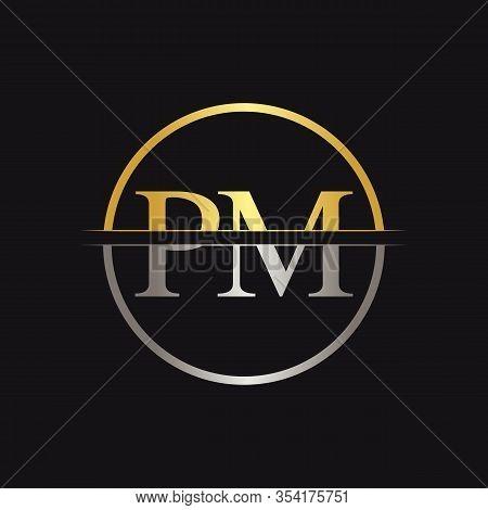 Initial Monogram Letter Pm Logo Design Vector Template. Pm Letter Logo Design