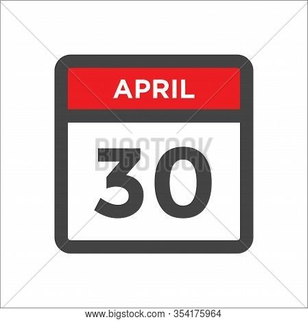April 30 Calendar Icon With Day And Month