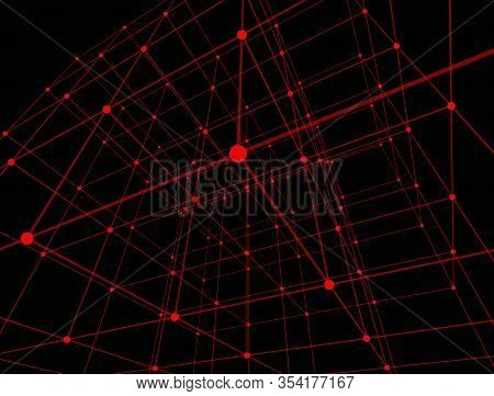 Colorful Red Dots In Modern Style On Black Background. Textile Design Texture. Abstract Wallpaper. O
