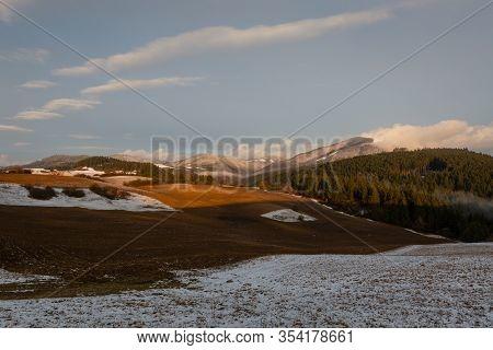 Rural Winter Landscape Of Turiec Region, Slovakia.