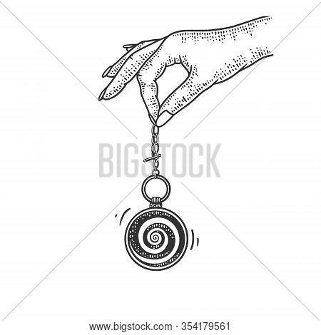 Hypnotist Pendulum In Hand Sketch Engraving Vector Illustration. T-shirt Apparel Print Design. Scrat