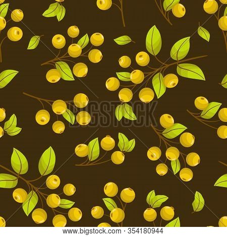 Vector Seamless Pattern With Yellow Rowanberry Twigs On Brown Background; Natural Design For Fabric,