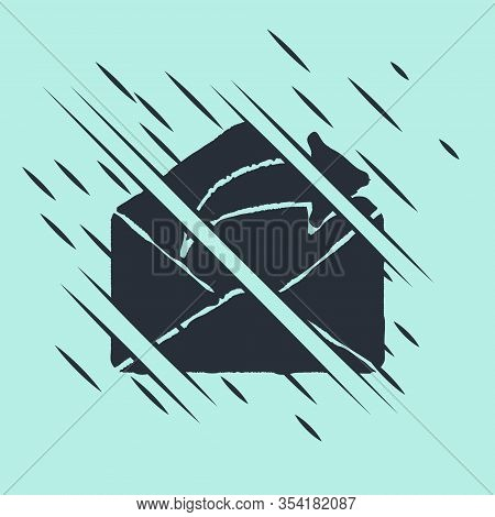 Black Outgoing Mail Icon Isolated On Green Background. Envelope Symbol. Outgoing Message Sign. Mail