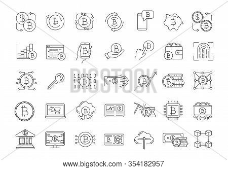 Bitcoin Cryptocurrency Linear Icons Set. Digital Money. Crypto Currency. Mining Business. Bitcoin Tr