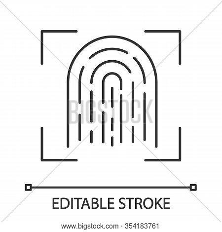 Fingerprint Scanning Linear Icon. Touch Id. Thin Line Illustration. Biometric Identification. Finger