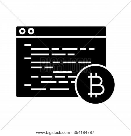Bitcoin Mining Software Glyph Icon. Silhouette Symbol. Blockchain Coding. Crypto Mining Programming.