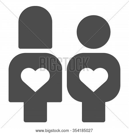 Couple In Love With Reciprocity Solid Icon. Lovers With Heart In Their Bodies Symbol, Glyph Style Pi