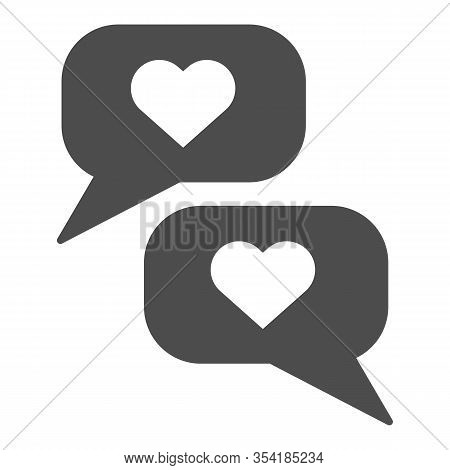 Romantic Chat Solid Icon. Reciprocity Dialogue And Like Or Compliment Symbol, Glyph Style Pictogram