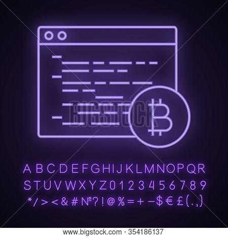Bitcoin Mining Software Neon Light Icon. Blockchain Coding. Crypto Mining Programming. Blockchain De