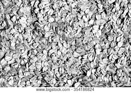 Pile Of Oatmeal Close-up In Black And White. Food And Ingredients Background.