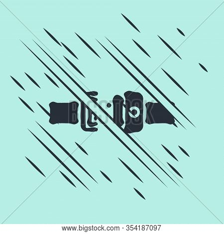 Black Safety Belt Icon Isolated On Green Background. Seat Belt. Glitch Style. Vector Illustration