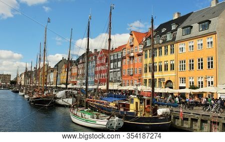 Copenhagen  Denmark: August 12, 2019 - Nyhavn Is A 17th-century Waterfront, Canal And Entertainment