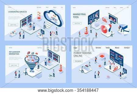 Influencer Marketing Isometric Concept Vector For Landing Page. Impact On B2c Customers, Potential B