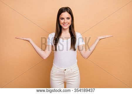 Portrait Of Positive Cheerful Girl Promoter Hold Hand Compare Ads Recommend Suggest Select Promo Wea
