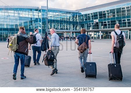 Lviv, Ukraine - May, 2019: People Say Goodbye At At Danylo Halytskyi International Airport.