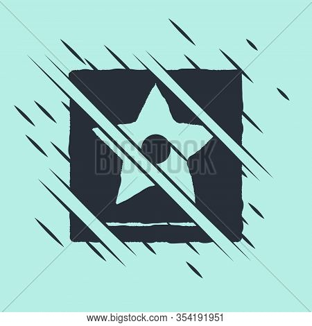 Black Hollywood Walk Of Fame Star On Celebrity Boulevard Icon Isolated On Green Background. Famous S