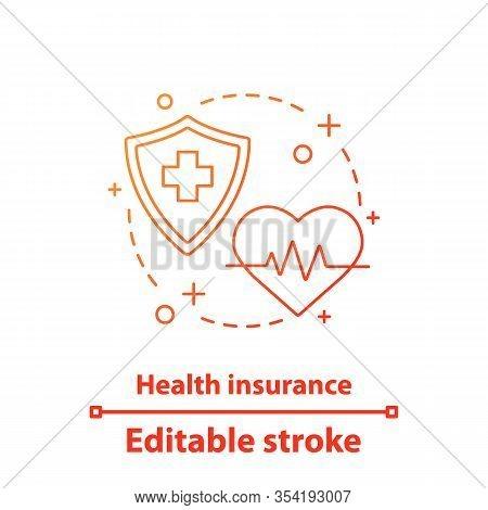Health Insurance Concept Icon. Cardiology. Medicine And Healthcare Idea Thin Line Illustration. Vect