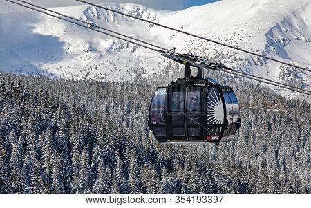 Demanovska Dolina, Slovakia - March 17: Cabin Of Ropeway Funitel In Resort Jasna At Low Tatras Mount