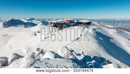 Demanovska Dolina, Slovakia - January 22:  Top Of The Hill Chopok And Cableway Station In Ski Resort