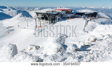 Demanovska Dolina, Slovakia - January 22:  Cableway Top Station In Ski Resort Jasna - Low Tatras Mou