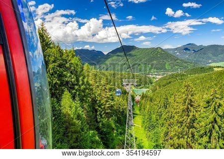 Ruzomberok, Slovakia - Jun 20: Cabin Of Ropeway In Great Fatra Mountains At Resort Malino Brdo On Ju