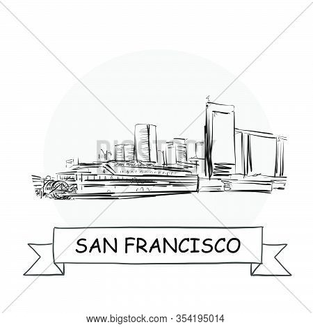 San Francisco Cityscape Vector Sign. Line Art Illustration With Ribbon And Title.