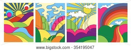 Set Of Four Different Modern Colorful Psychedelic Landscapes With Stylised Mountains, Rainbow Over C