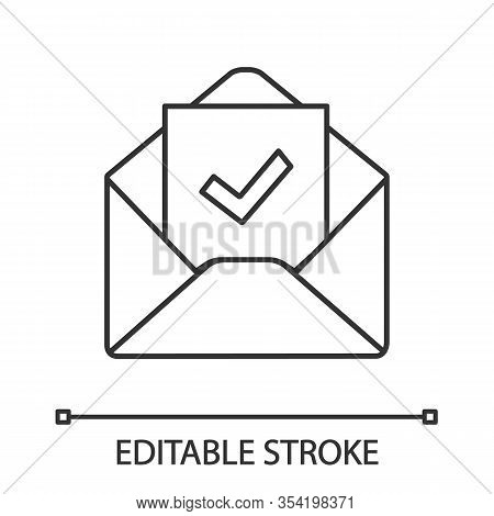 Email Confirmation Linear Icon. E-mail Approval Response. Thin Line Illustration. Hiring Letter. Ema