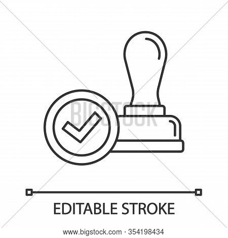 Stamp Approved Linear Icon. Stamp Of Approval. Thin Line Illustration. Verification And Validation.