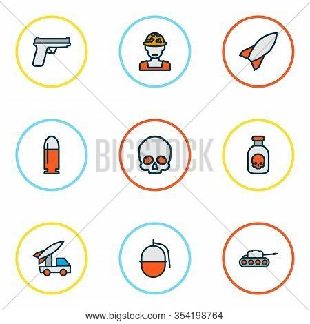 Army Icons Colored Line Set With Military Rocket, Skull, Bullet And Other Bomb Elements. Isolated Ve